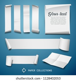White paper roll collections for business design on blue background, vector illustration