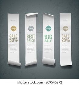 White paper roll long size vertical for sale design background, vector illustration