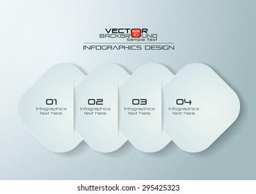 White Paper Rounded Rectangles Infographics Design, Vector Illustration