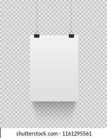 White paper sheet hanging on paper clips isolated on transparent background. Vector design element.