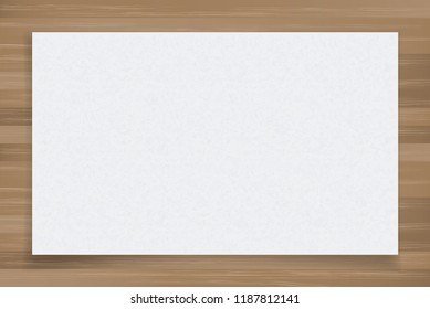 White paper sheet on wood texture background. Vector illustration.