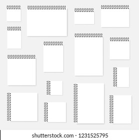 White paper sheet with top and side spiral, vector mock-up set. A4, A5, A6 and square. Blank ring bound calendar or notebook mockup.
