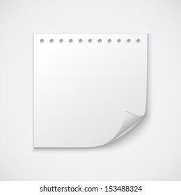 White paper sheet. Vector background.