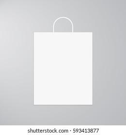 White Paper Shopping Bag. Vector Illustration.