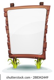 White Paper Sign On Wood Panel/ Illustration of a cartoon blank white paper sign on wood panel, with blades of grass, for rural, environment or agriculture advertisement