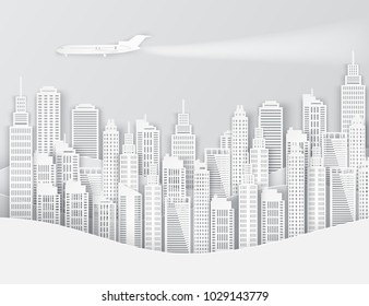 White paper skyscrapers and airplane in the sky. Achitectural building in panoramic view. Modern city skyline building industrial paper art landscape skyscraper offices. Vector Illustration