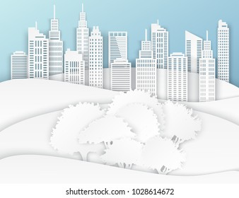 White paper skyscrapers and trees. Achitectural building in panoramic view. Modern city skyline building industrial paper art landscape skyscraper offices, city park. Ecology idea. Vector Illustration