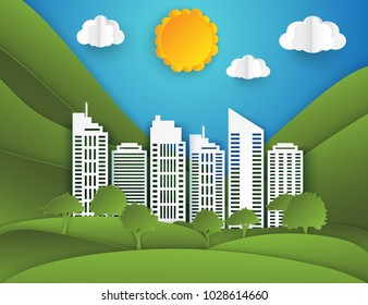 White paper skyscrapers, trees, hills, clouds and sun. Achitectural building in panoramic view. Modern city skyline building industrial paper art landscape skyscraper offices, city park. Ecology idea.