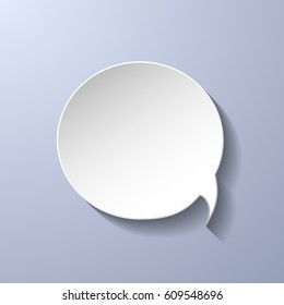 White paper speech bubble on grey background. Vector eps10 illustration