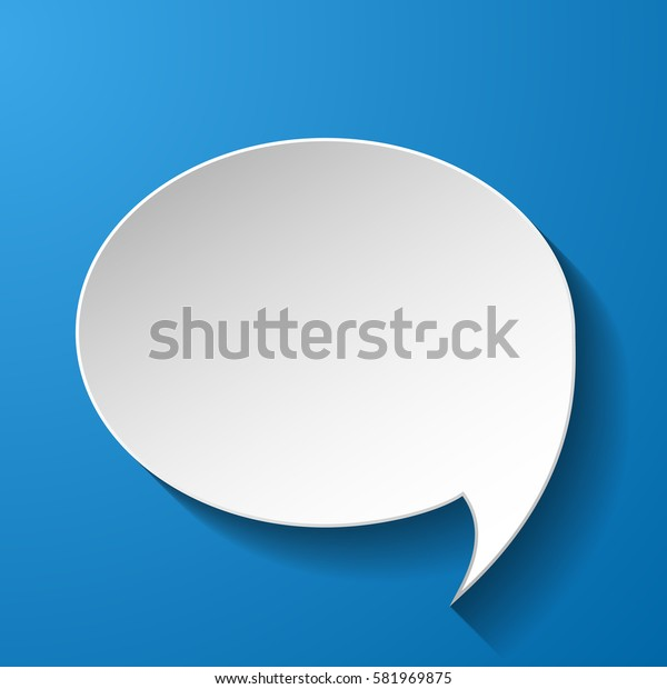 White paper speech bubble on blue background. Vector eps10 illustration