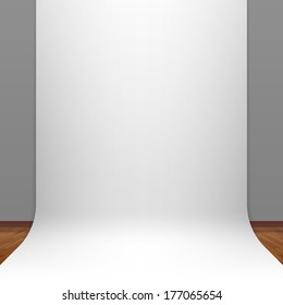 White paper studio backdrop. Vector.