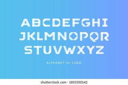 White paper style alphabet. Scotch tape segment line font, applique type for modern logo, elegant monogram, art typography, modern headline. Stick style letters, vector typography design