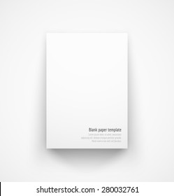 White paper template mock-up with drop shadow. Vector illustration
