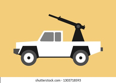 White paramilitary off road pickup truck is armed - heavy machine gun and wavy black flag of Islamic state ( Daesh). Vector illustration