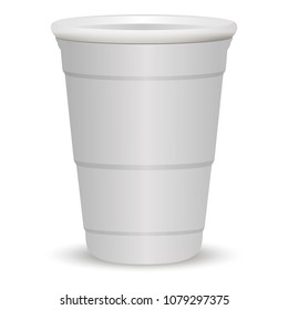 White party cup realistic 3d vector illustration. Disposable plastic or paper container mockup for drinks and fun games isolated on white background.