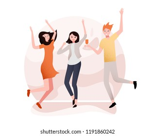 White party poster with happy dancing people. Entertainment or disco. Vector background.