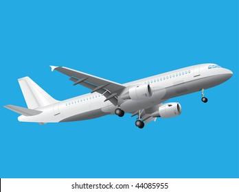 White passenger plane over blue background