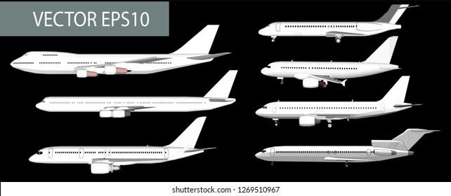 White passenger plane vector set