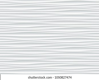 White pattern background with seamless wave wall texture. Vector modern ripple interior decoration. Seamless 3d geometry design