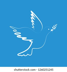 white peace dove on blue background vector illustration EPS10
