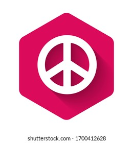 White Peace icon isolated with long shadow. Hippie symbol of peace. Pink hexagon button. Vector Illustration