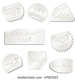 White pealing paper price tag isolated on white vector