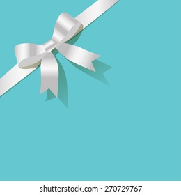 White pearl ribbon on the turquoise background