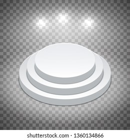 White pedestal with spotlights. Template on a transparent background. Editable vector isometric illustration
