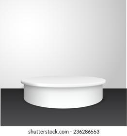White pedestal vector background. Vector eps10.