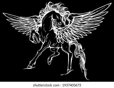 white pegasus, mythological winged horse, illustration silhouette in black background