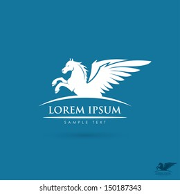 White pegasus sign - vector illustration