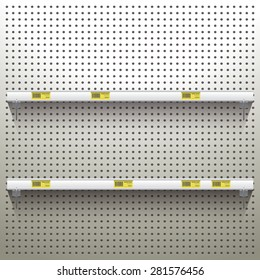 White Pegboard in workshop Background with shelves and price tags