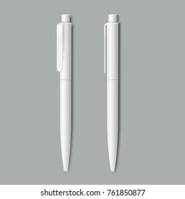 White pen on grey background.Vector set of corporate identity, branding stationery templates. Mockup ready for design