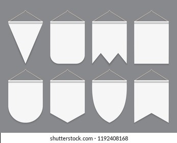 White pennant. Hanging empty fabric flags. Advertising canvas outdoor banners. Pennants vector mockup. Illustration of banner pennant collection for advertising