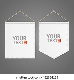 White Pennant Template Hanging on Wall with Place for Your Text. Vector illustration