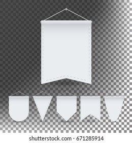 White Pennant Template Set Vector. Empty 3D Pennants Banners Blank. Different Forms. Illustration Isolated On Transparent Background