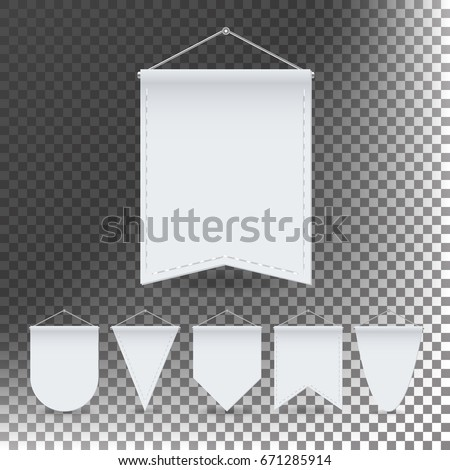 White Pennant Template Set Vector Empty Stock Vector (Royalty Free ...