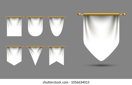 White pennant templates vector set with empty space for branding. Square and triangle diversity shapes. Hanging realistic fabric pieces, award, achievement symbols, logo signs.