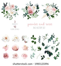 White peonies, blush and dusty pink roses, blooming freesia, eucalyptus, salal, pampas grass, wedding greenery big vector design set. Luxurious modern bouquets.  All elements are isolated and editable