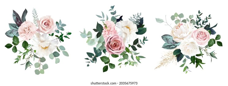 White peonies, blush and dusty pink roses, blooming freesia, eucalyptus, salal, pampas grass, wedding greenery vector design bunches. Luxurious modern bouquets.  All elements are isolated and editable