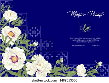 White Peony with imitation of traditional Japanese embroidery Sashiko. Template for wedding invitation, greeting card, banner, gift voucher, label. Colored vector illustration on blue background.