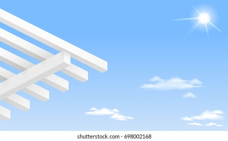 White pergola against a clear blue sky. Vector graphics