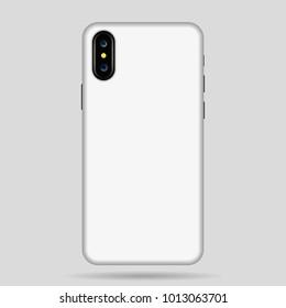 white phone case vector illustration.  phone case mockup