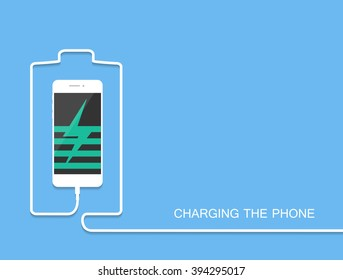 White Phone charging with energy bank. Smarthone and line wire. Minimalism Outline earphone. . Eps10. Trendy simple Vector illustration banner, card, template for your design.