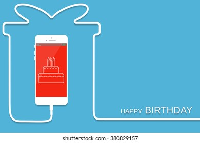White Phone charging in style gift. Surprise giftbox Smartphone with line wire. Present Cellphone, cake screen. Minimalism, Outline earphone. Vector illustration banner, card, template design.