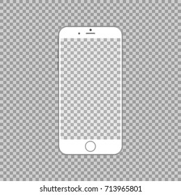 White phone mock up with transparent screen and vackground