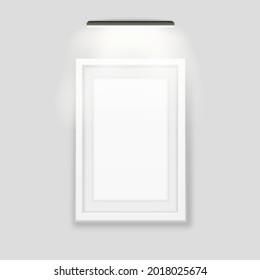 White photo frame backlit template. Realistic banner with black led lamp on top advertising wooden rectangle for images and vector interior.