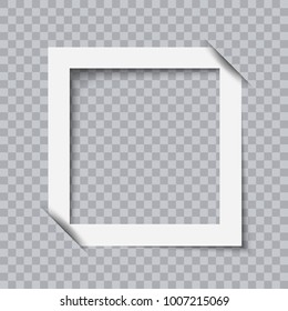 White photo frame minimalistic flat design isolated on transparent background. Border for images, photos, text, advertising and websites
