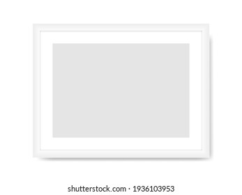 White photo frame template. Empty rectangular horizontal banner with gray center realistic design for picture and promotional vector image.