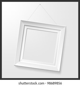 White photo frame. Vector.